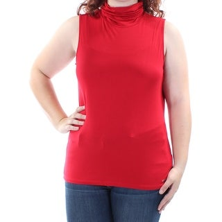 Womens Red Sleeveless Turtle Neck Casual Top Size XS