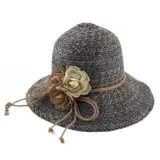 Ladies Straw Flower Design Summer Traveling Brimmed Sun Cap Beach Hat Navy Blue