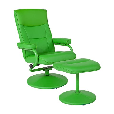 Offex Chelsea Contemporary Swivel Recliner and Ottoman in Citrus Green Vinyl