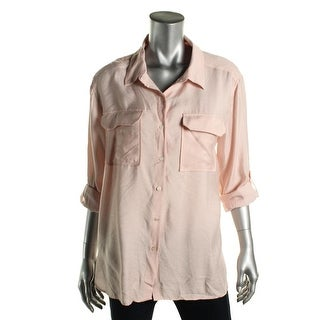 Two by Vince Camuto Womens Oversized Long Sleeve Button-Down Top - L