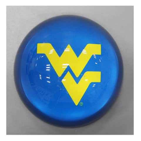 """3"""" Blue and Yellow Round Glass Paperweight with West Virginia Logo Design"""