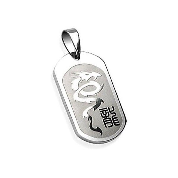 Stainless Steel Engraved Dragon with Chinese Character Pendant (20 mm Width)