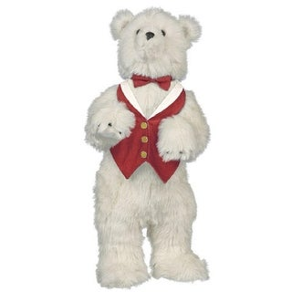 "24"" Extra Soft Standing Plush Polar Bear in Red Vest and Bow Tie Stuffed Animal - White"