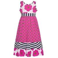 Three Friends Little Girls Fuchsia Flower Polka Dot Print Casual Dress