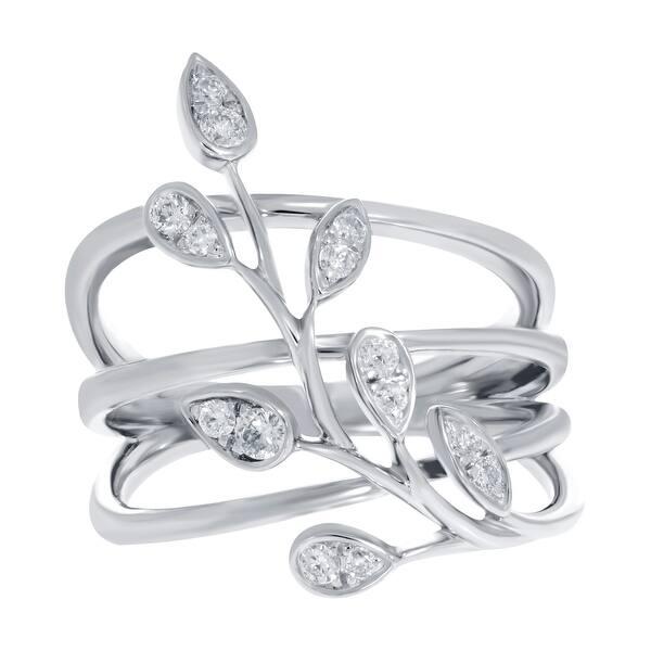 Prism Jewel 0.16Ct G-H//I1 Round Natural Diamond Designer Bypass Ring