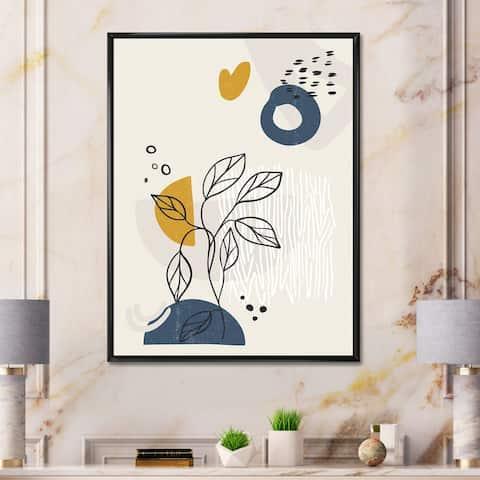 Designart 'Vintage Boho Minimalistic Flowers II' Modern Framed Canvas Wall Art Print
