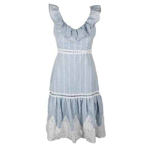 Jax Black Label Blue Sleeveless Flounce Crochet-Trim A-Line Dress 2