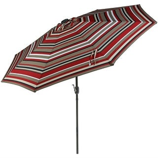Sunnydaze 9-Foot Aluminum Solar LED Lighted Umbrella with Tilt & Crank