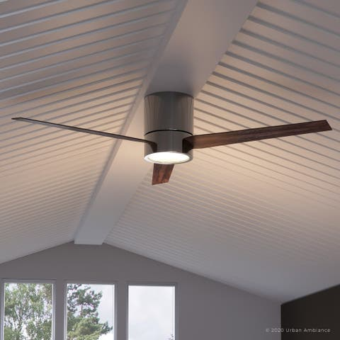 """Luxury Modern Indoor Ceiling Fan, 9.9""""H x 56""""W, with Minimalist Style, Polished Chrome Finish, UHP9071 by Urban Ambiance"""