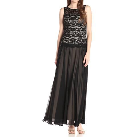 Sangria Women's Gown Jet Black Size 10 Lace Bodice Chiffon Skirt