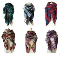 Adult Child Plaid Blanket Square Tartan Scarf Shawl Wrap