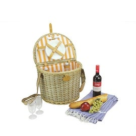 2-Person Hand Woven Warm Gray and Natural Striped Willow Picnic Basket Set with Accessories