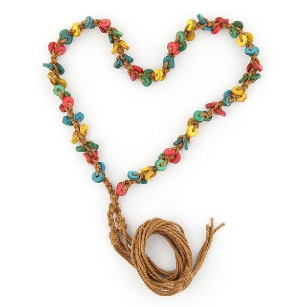 Ladies Wooden Retro Style Decoration Handmade Chain Waistband Belt Multicolor