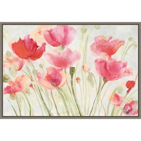 Blush Poppies by Albena Hristova Framed Canvas Art