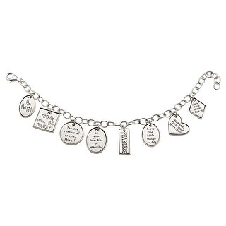 Women's Positivity Charm Bracelet - Sterling Silver Inspirational Charms