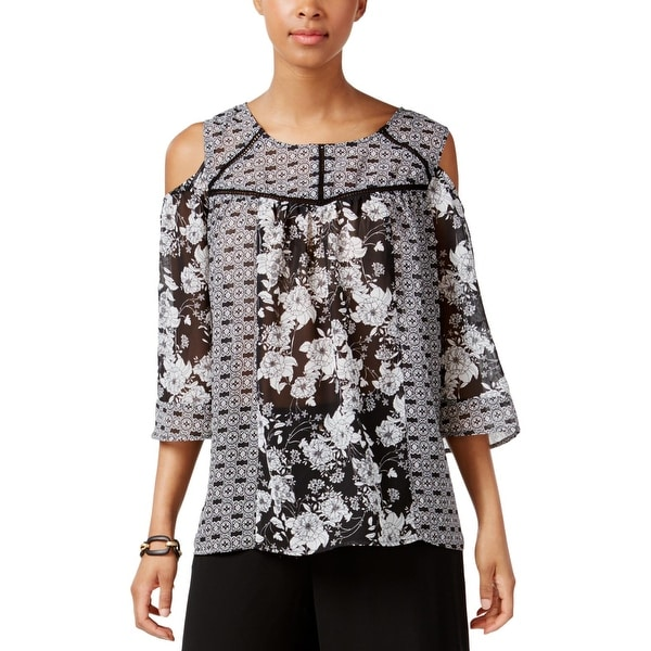 NY Collection Womens Blouse Printed Cold Shoulder - M