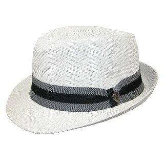 Dorfman Pacific Men's Toyo Straw Fedora with Striped Band
