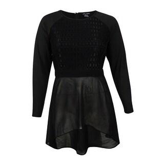 City Chic Women's Plus Size High-Low Lace Top - Black