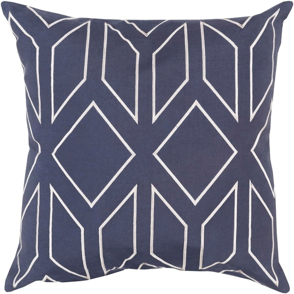 "18"" Diamond In The Rut Midnight Blue and Platinum Gray Decorative Throw Pillow"