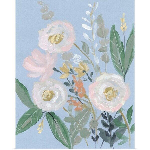 """""""Spring Bouquet on Blue I"""" Poster Print"""