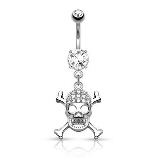 "CZ Pave Skull with Cross Bones Dangle Surgical Steel Navel Ring-14GA-3/8"" Length (Sold Ind.)"