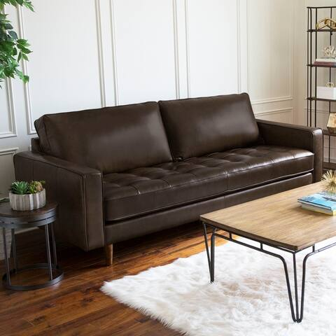 Abbyson Holloway Mid CenturyTop Grain Leather Sofa