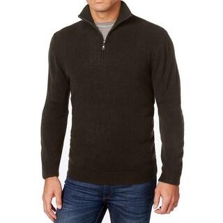 Weatherproof NEW Espresso Brown Mens Size 3XL Knit Quarter Zip Sweater