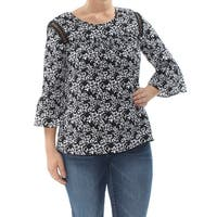 NY COLLECTION Womens Black Eyelet Bell Sleeve Jewel Neck Tunic Top Petites  Size: L