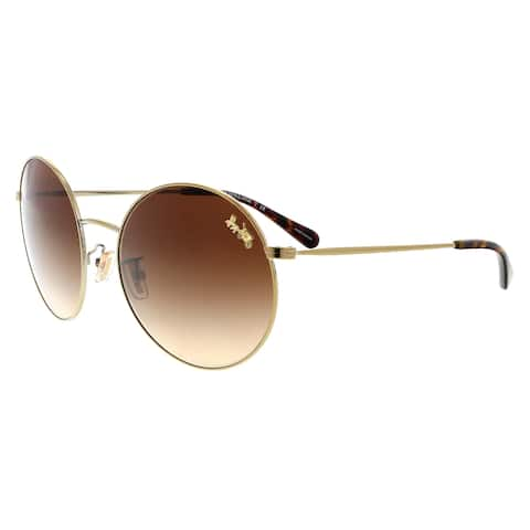 12677a73ee Coach HC7078 932213 Light Gold Round Sunglasses - 56-18-140