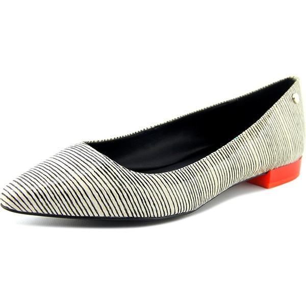 Calvin Klein Elle Women Square Toe Synthetic White Flats