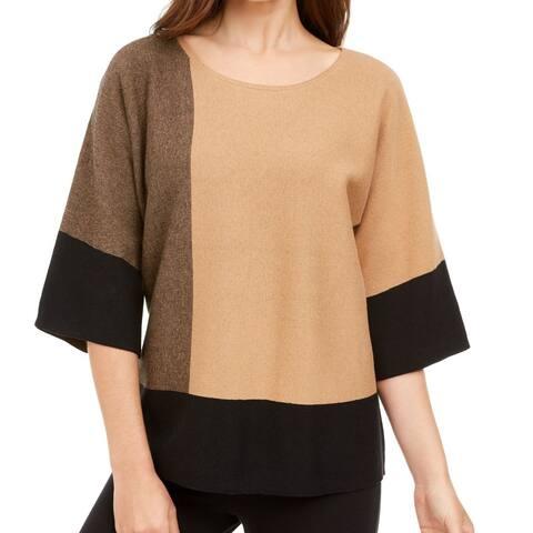 Alfani Women's Sweater Beige Size Large L Scoop Neck Colorblocked