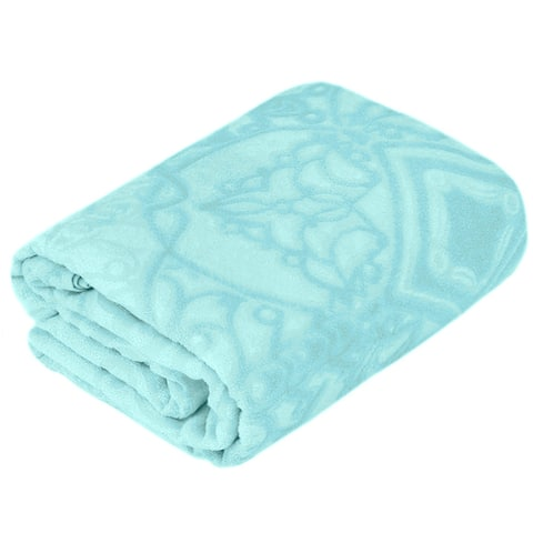 STP-Goods Ornament Turquoise Cotton Terry Throw Blanket