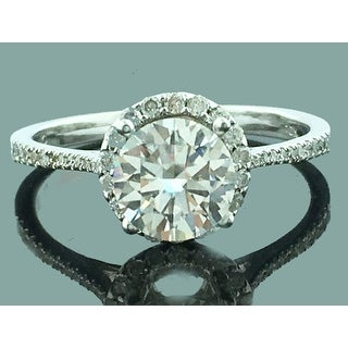 1.25ctw Diamond Engagement Ring Halo Style Round 1ct Solitaire 14K White Gold By MidwestJewellery