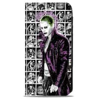 Suicide Squad Joker Pose2 Hahaha 7 Character Pose Blocks White Grays Black Canvas Snap Wallet - One Size Fits most