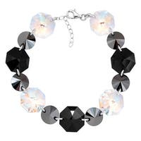 Crystaluxe Link Bracelet with Black & White Swarovski Crystals in Sterling Silver