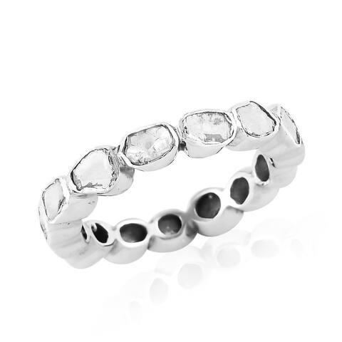 Boho Platinum Over Silver Diamond Eternity Band Ring Size 10 Ct 1