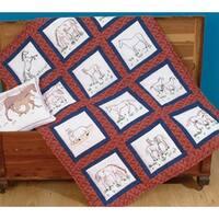 """Themed Stamped White Quilt Blocks 9""""X9"""" 12/Pkg-Horses"""