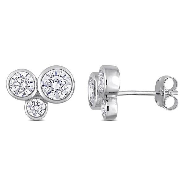 Miadora Cubic Zirconia 3-Stone Graduated Stud Earrings in Sterling Silver. Opens flyout.