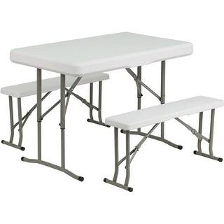 Rivera 3pcs Rectangular Plastic Folding Table w/2 Bench Set, Granite White