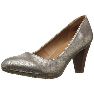 Groove Womens Rosario Dress Pumps Round Toe Stacked Heel