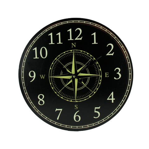 Black and White Compass Rose Round Wall Clock - 15.75 X 15.75 X 1.25 inches