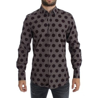 Dolce & Gabbana Dolce & Gabbana Purple Polka Dot Slim Fit GOLD Mens Shirt