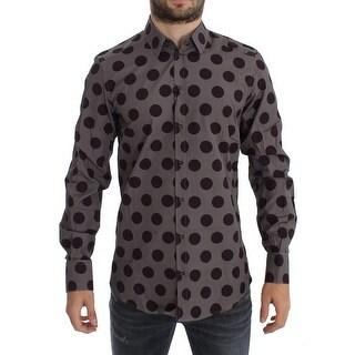 Dolce & Gabbana Purple Polka Dot Slim Fit GOLD Mens Shirt