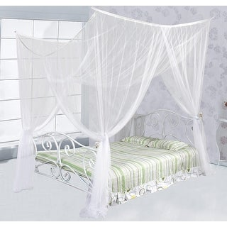 Just Relax Four Corner Post Elegant Mosquito Net Bed Canopy Set, Full/Queen/King