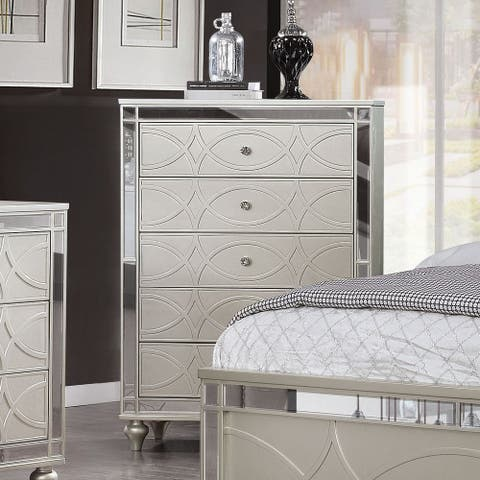 Silver Orchid Amann Transitional Silver 5-drawer Chest
