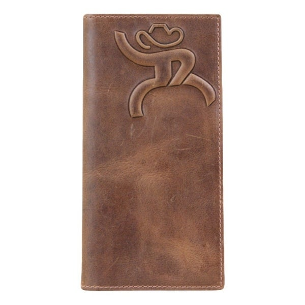 HOOey Western Wallet Mens Roughy Rodeo Checkbook Chestnut - 3 1/2 x 3/4 x 7