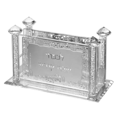 """Crystal Match Box With Silver Praying 5.14x2.58x3.14"""" - Pictured"""