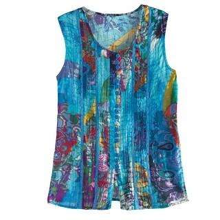 Women's Tunic Top - Blue Abstract Art Pattern Sleeveless Cotton Shirt