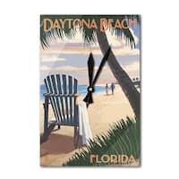 Daytona Beach, FL - Adirondack Chair - LP Artwork (Acrylic Wall Clock) - acrylic wall clock