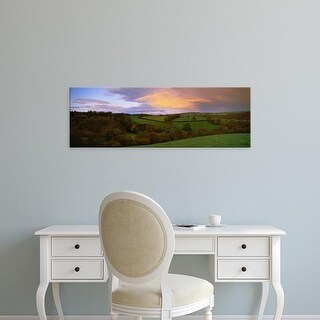 Easy Art Prints Panoramic Image 'trees on landscape, Exe Valley, Bickleigh, Mid Devon, Devon, England' Canvas Art